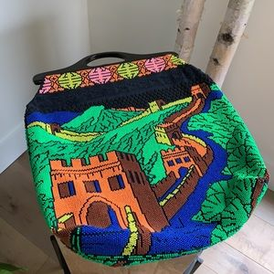 1960s Vintage Great Wall Of China Beaded Purse